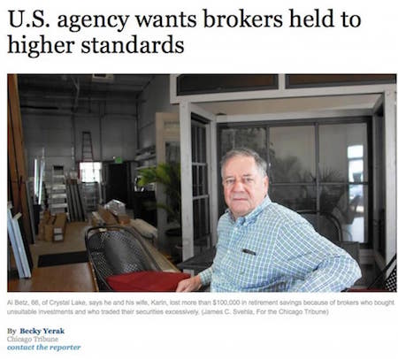 Article: U.S. Agency Wants Brokers Held to Higher Standards